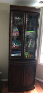 Red solid wood display cabinet