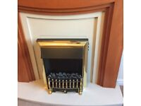 Stylish electric fire, marble and wood surround with fire guard in excellent condition