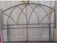 Double bed silver metal headboard arch design