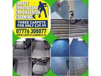 Carpet Cleaning -any 3 carpets for 39.99 Sheffield and up to 30 miles-BOOK ONLINE