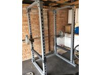 Body solid Commercial power rack, ez bar, olympic bar, weight discs x 8 , adjustable bench