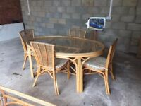 WICKER CONSERVATORY SET, TABLE, DINING TABLE, CHAIRS