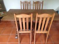 Oak 6 Seater Dining Table 4 High Back Chairs