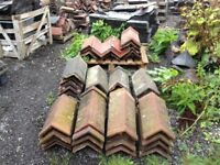 reclaimed staffordshire blue/red angle capped ridge tiles