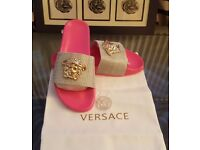 Women Versace medusa slippers size 5