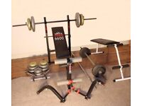 Weight Training / Lifting Set with Adjustable Bench and Fixed Bench