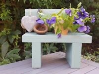 Hand Made Solid Wood Garden Bench Planter Complete with Heart and Plant