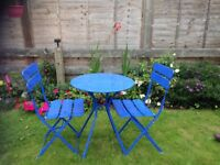Blue bistro table and chairs
