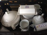 Miscellaneous kitchen ware, tea pot, cups, crockery, metal fruit dish