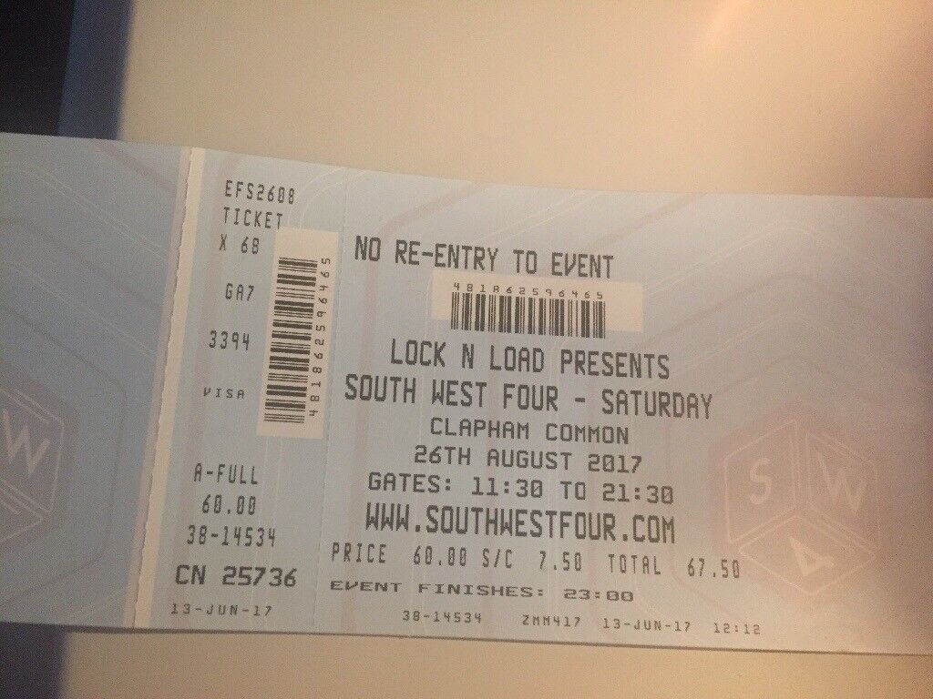 SW4 Saturday ticket for sale