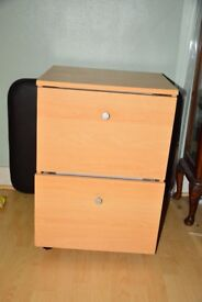 Two Drawer wooden filing cabinet