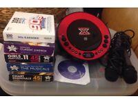 Karaoke machine, 2 microphones, 17 Karaoke CD's!