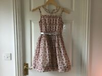 2x Girls MATALAN pink flowered print lined dress age 10yr, 11yrs
