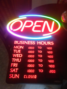 Electronic open sign