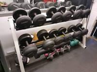 Dumbbells ivanko rubber coated with rack