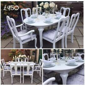 EXTENDING TABLE & 6 CHAIRS ~ WHITE & GREY ~ CRUSHED VELVET ~ SHABBY CHIC VINTAGE