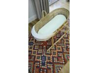 Moses basket with mattress, hood and wooden stand