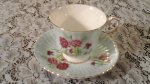 FINE BONE CHINA CUP AND SAUCER,BLUE - WINDSOR, ENGLAND