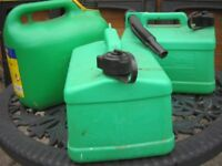 Green Plastic Petrol Containers/Cans 3 Off