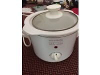 Hinari 'lifestlye' one pot health cooker - small 1 - 2 person slow cooker white porcelain and glass