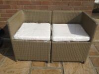 Weatherproof Rattan Balcony / Patio Seat. Used but with brand new cushion set