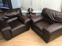 Pair of chocolate leather sofa chairs - open to offers!!!