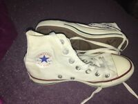 Girls hightop white converse size 3 !!