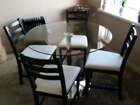 Small Glass Circular Dining table & 4 Chairs