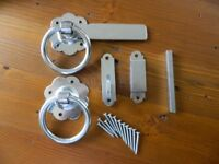 "2 zinc plated ring gate / door latch 6"" with screws. brand new in box. cost £18. sell £10"
