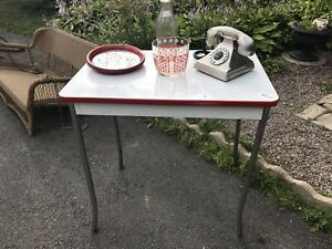 Retro Vintage Enamel Metal Table, Red & White Table.