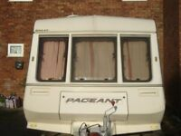 2/3 berth bailey pageant caravan with shower room casset toilet plus awning end kitchen 3 way fridge
