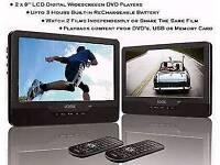 Logik 9inch twin dual portable dvd player