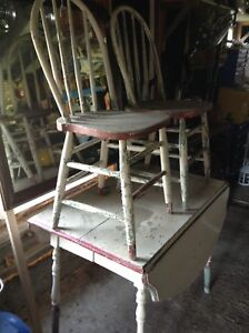 Nice old painted table and chairs