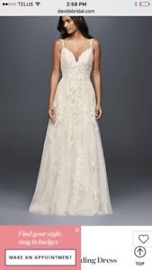 Melissa Sweet A-line lace wedding dress.