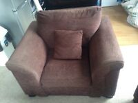Armchair (Fabric) - Chocolate Brown. Includes Delivery!