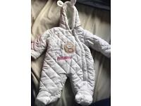 Baby clothes. Pramsuit and cardi first size newborn