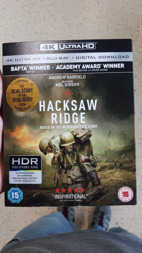 Hacksaw ridge 4K ultra hd disc and blueray disc
