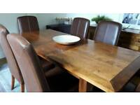 Solid wood table 6 faux dark brown leather and wood high backed chairs and matching sideboard