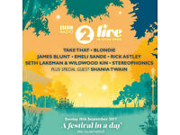 2 Tickets for BBC Radio 2 Live In Hyde Park Festival -Take That, Blondie, Stereophonics, Rick Astley