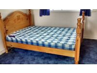 Double solid pine wood bed frame and matterress. Brand new condition hardly used. will help assemble