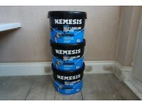 THREE TUBS OF NEW AND UNOPENED NEMESIS SELF-LEVELLING FLOOR COMPOUND 15Kg (45Kg TOTAL). £30.00.