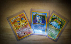 Pokemon Cards (Charizard, Blastoise, Venusaur) - Base Set