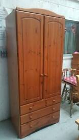 Pine wardrobe with 3 draws at bottom can deliver 07808222995