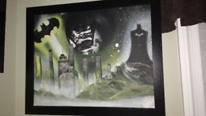 Batman Inspired Original Spray Painting with Frame - Mint