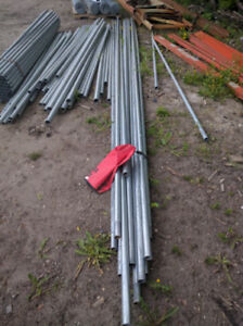 "NEW GALVANIZED TOP RAIL STEEL PIPE POST 21' X 1 1/2"" - $20 each"