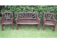 Indonesian Hard Wood Garden Bench and 2 x Chairs complete with Weatherproof Cover - Excellent Cond