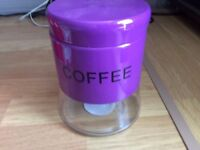 purple coffee storage