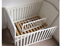 East Coast nursery cot bed (with/without mattress) plus toddler bed guard.