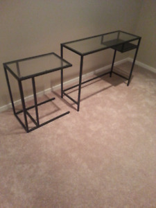 Side Tables with Glass Top Surface
