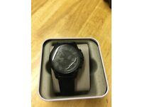Fossil watch worn once like new, black leather comes with box. Unwanted gift